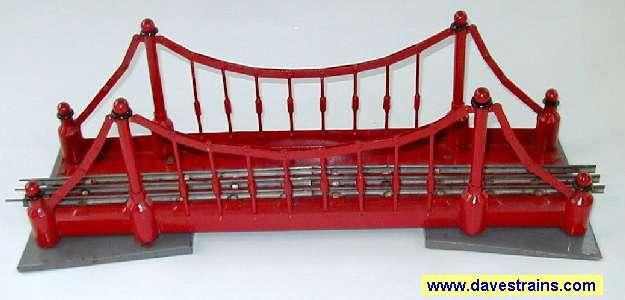 Photo of red Soviet Suspension Bridge