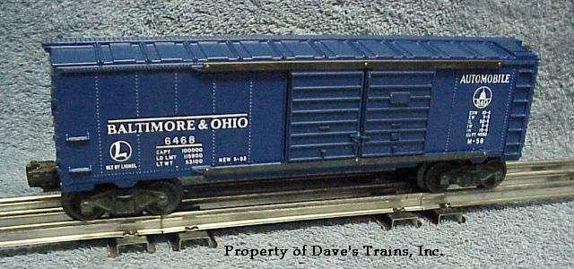Photo of a blue 6468 B & O Automobile Boxcar